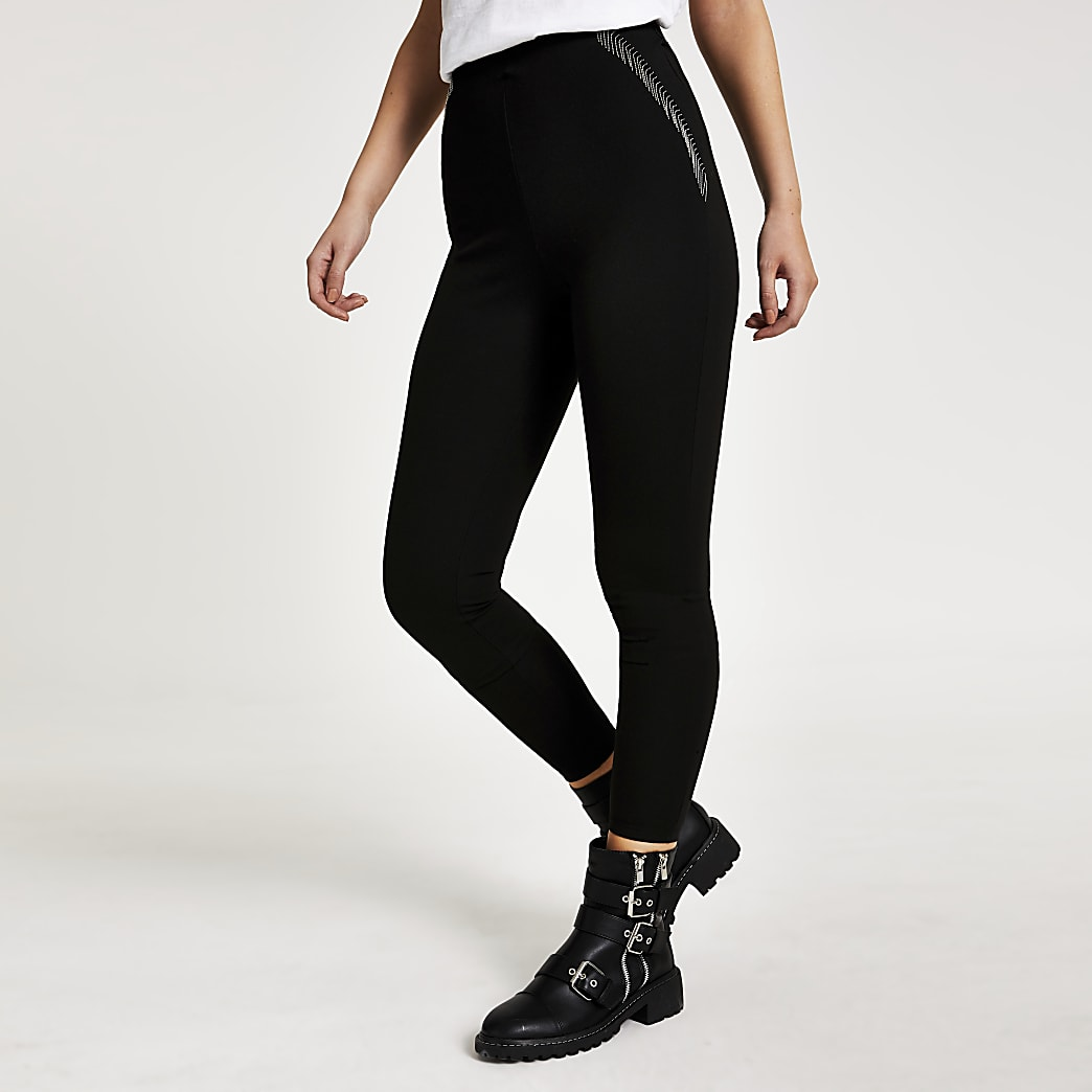 Zwarte ponte-stof leggingsmet franje en kralenborduursel