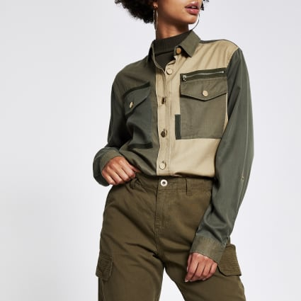 Khaki colour blocked long sleeve shirt