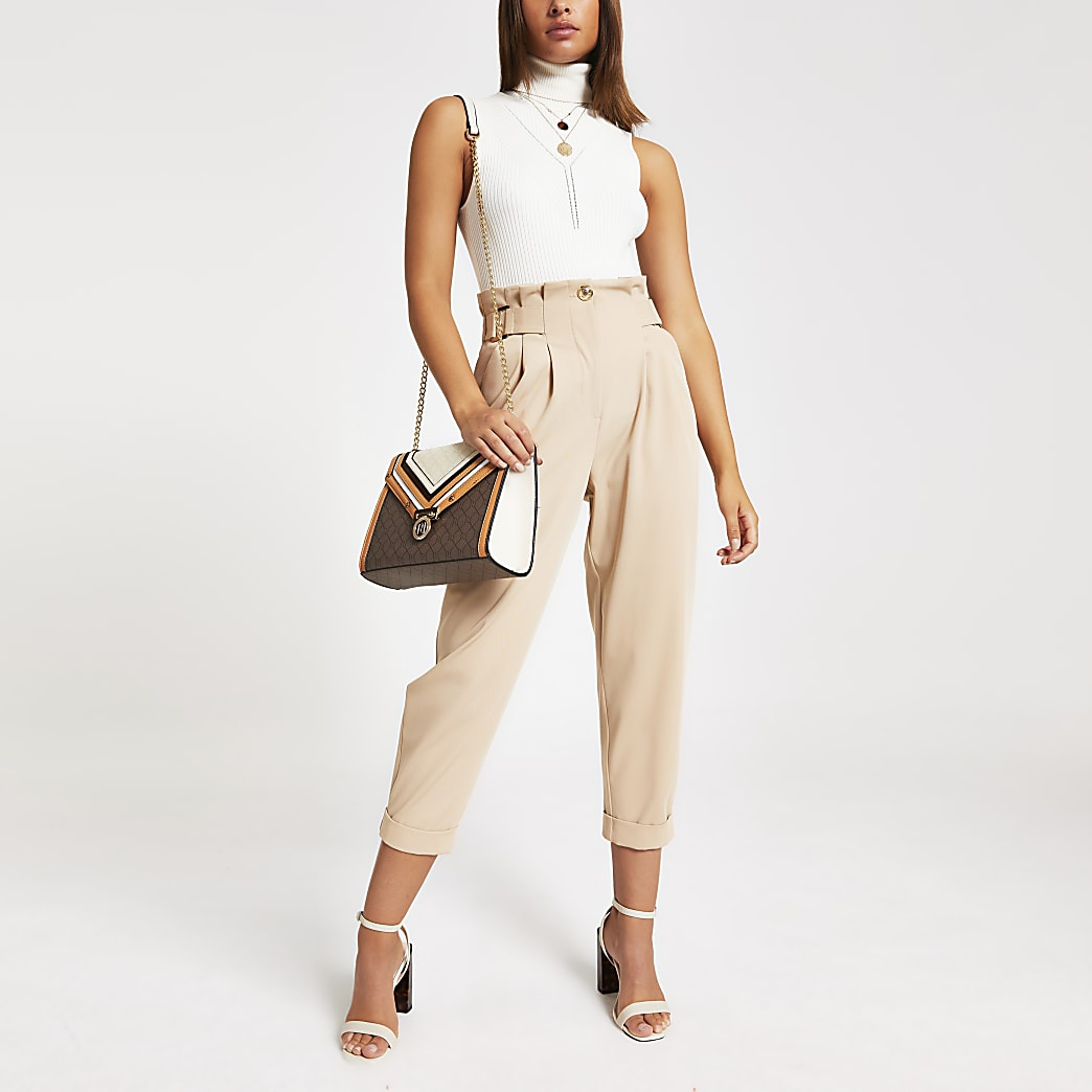 Beige tab waist utility trousers