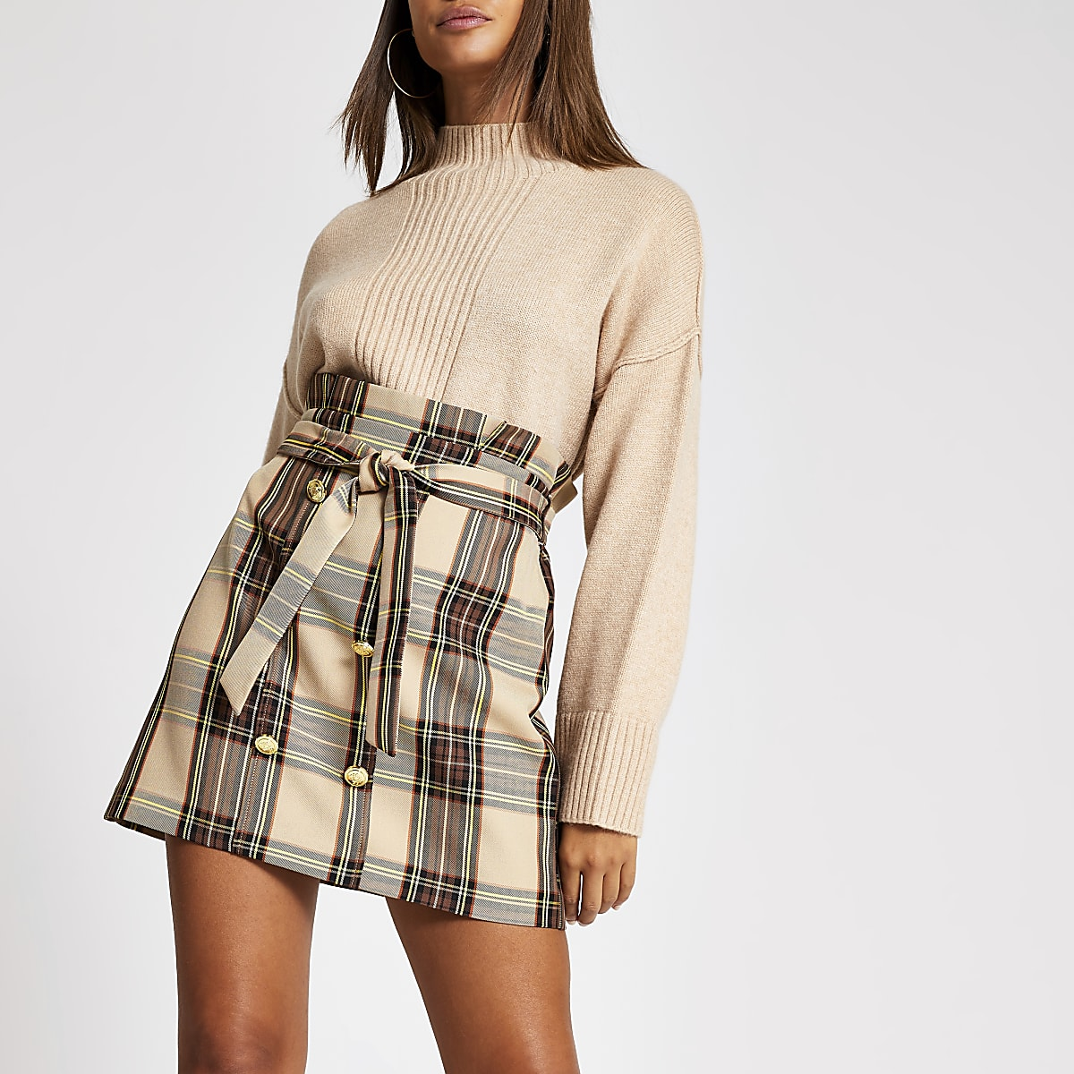 Brown check button front paperbag mini skirt