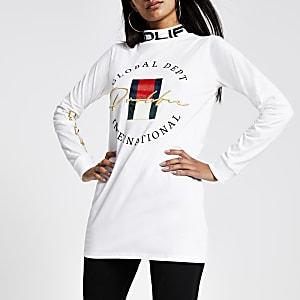 Profilic - T-shirt blanc long à col montant
