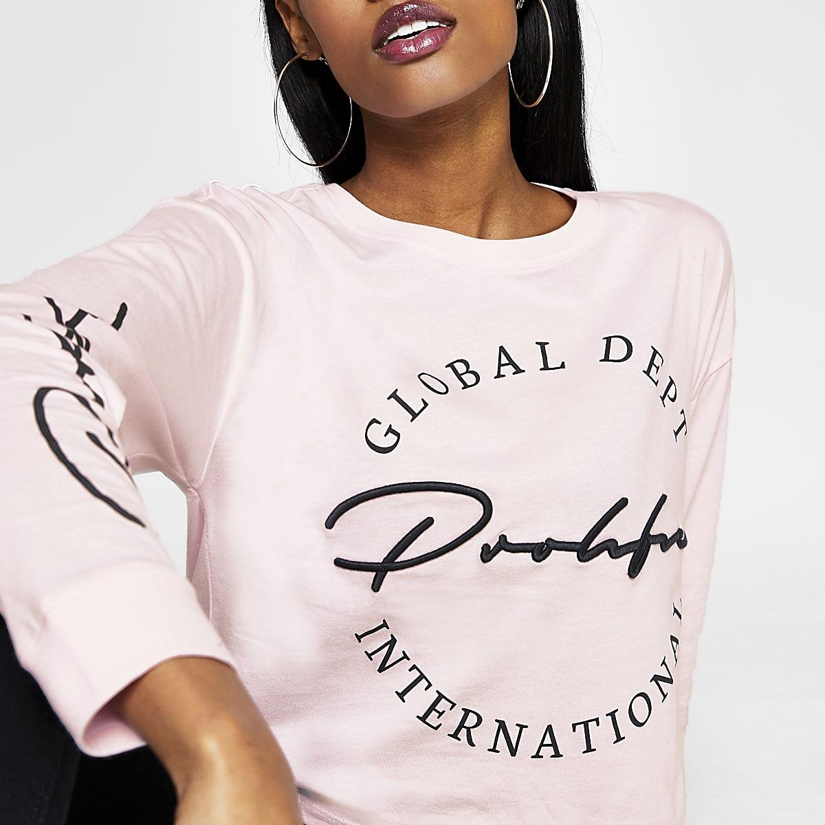 Prolific - Roze cropped T-shirt met lange mouwen