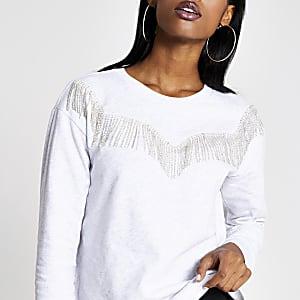 Grijs western sweatshirt met siersteentjes franje
