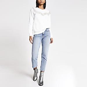 Sweatstyle western blanc à franges avec strass