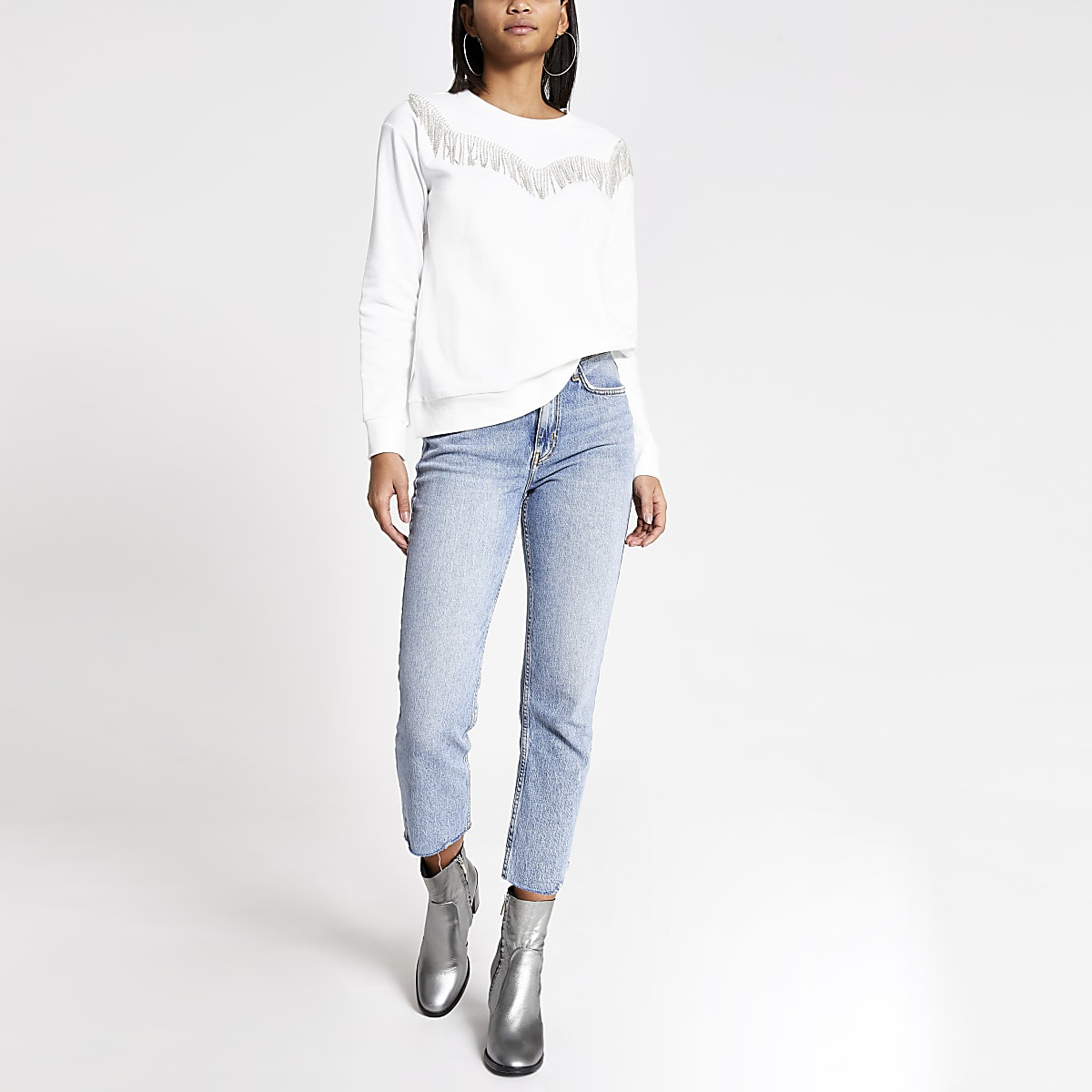 Wit western sweatshirt met siersteentjes en franje