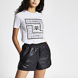 Grijs versierd T-shirt met print en korte mouwen