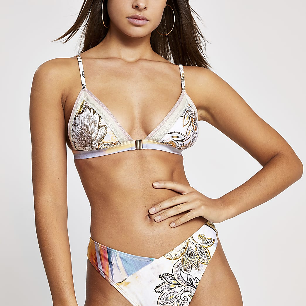 Crèmekleurige paisley triangel-bikinitop met tape afwerking