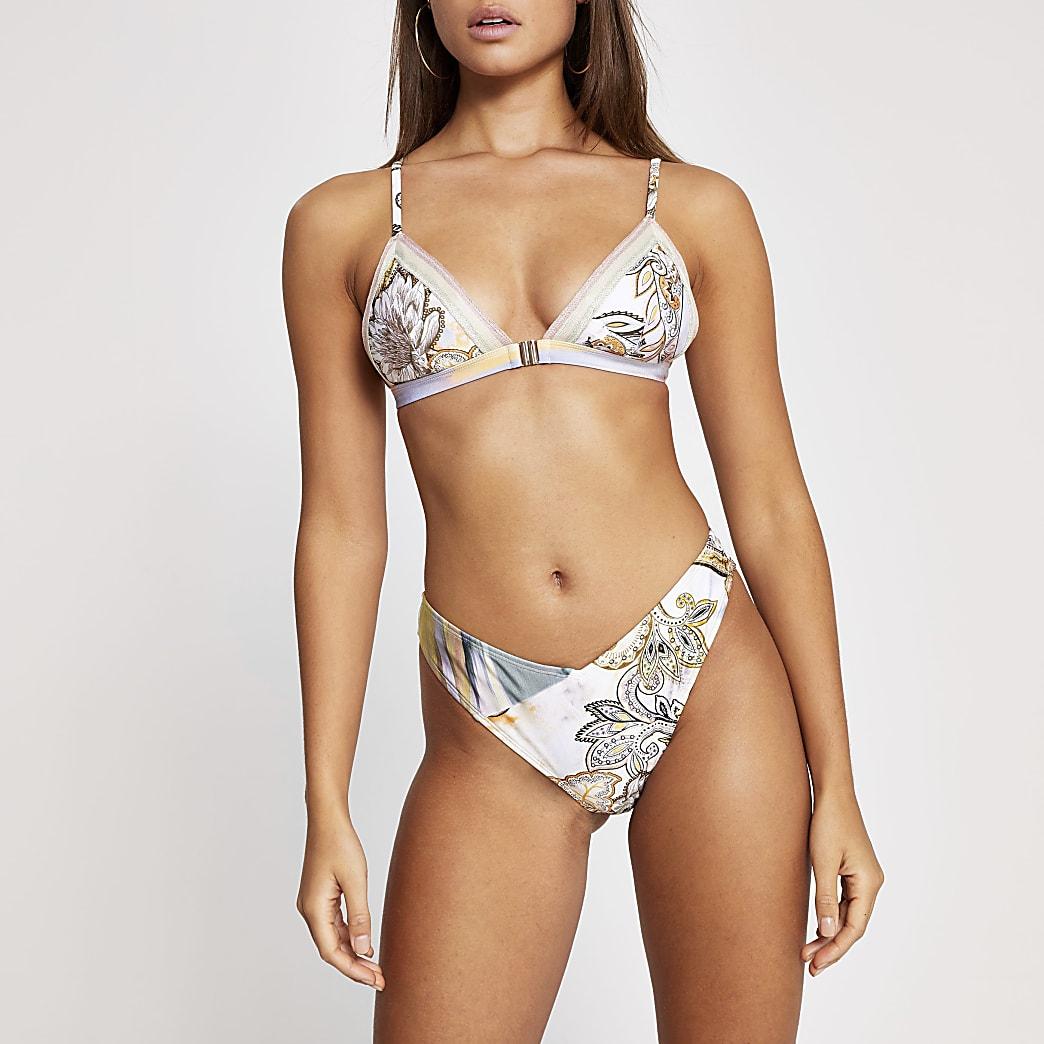 Bas de bikini échancré crème imprimé cachemire
