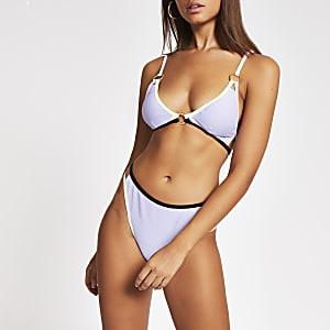 Haut de bikini triangle léger violet avec bordures contrastées