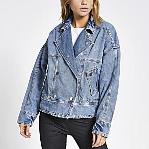 Light blue button front oversized jacket