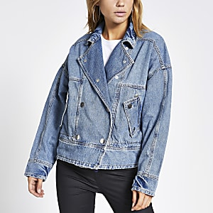 Light blue button front oversized jacket