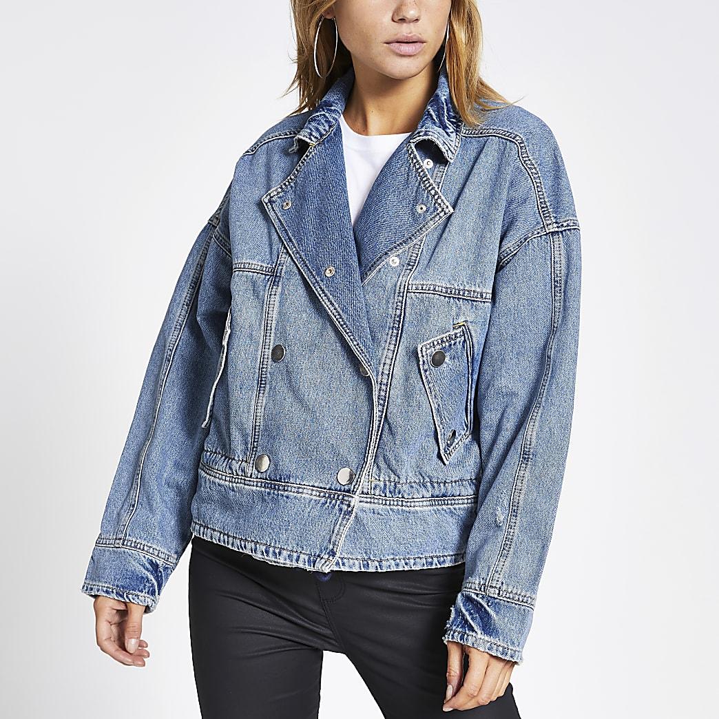 Lichtblauw oversized jack met knopen voor