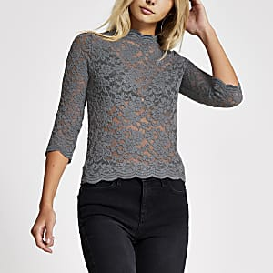 Grey lace scallop top