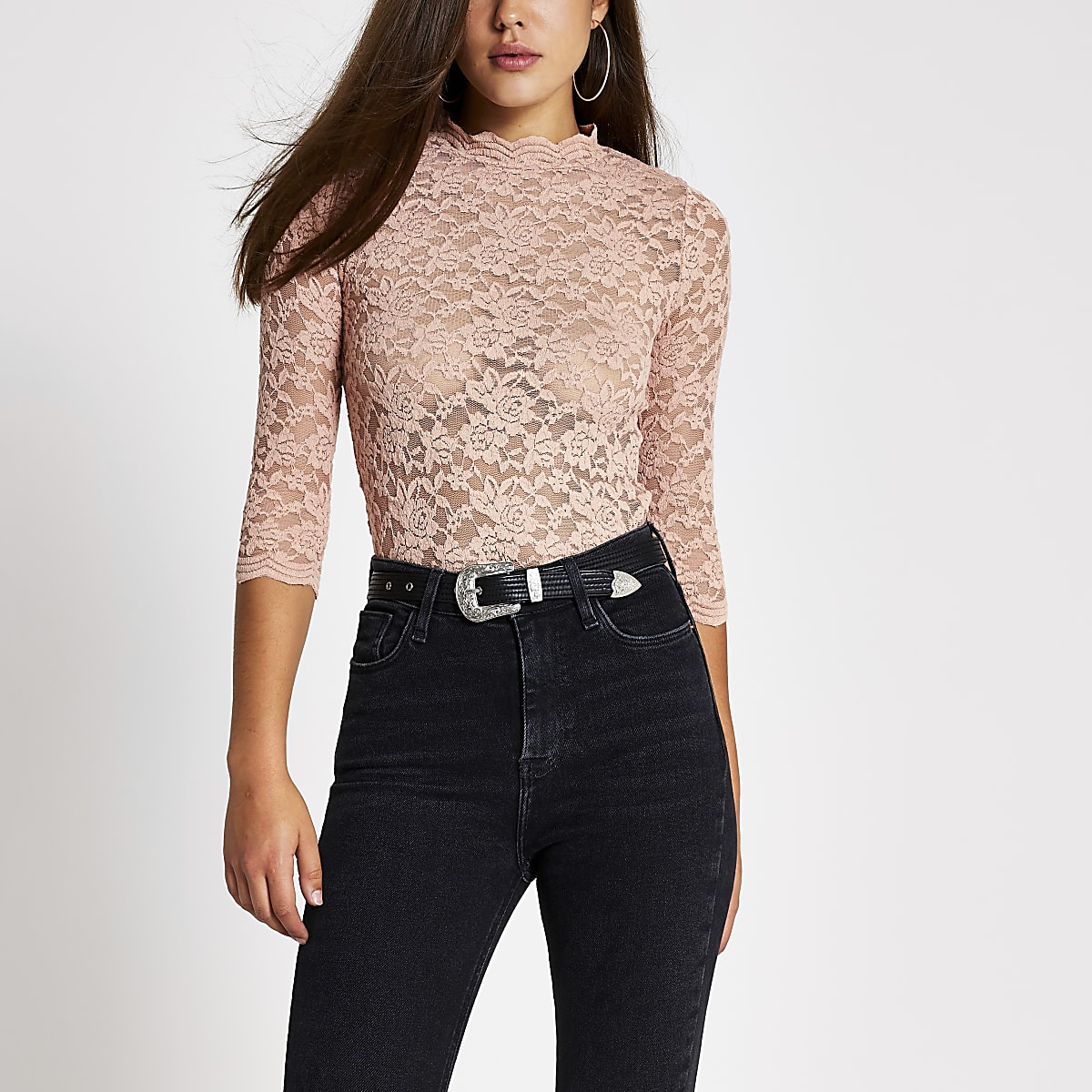 Pink lace long sleeve scallop trim top