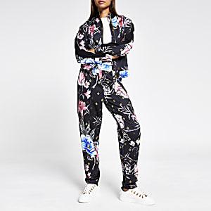 Schwarze Jacke mit Blumenmuster, Strass und furchgehendem Reißverschluss