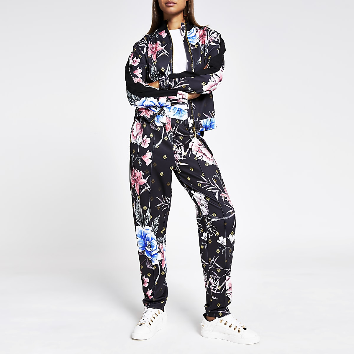 Black floral diamante zip through jacket