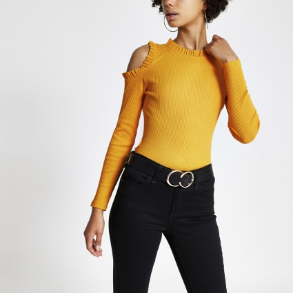 Yellow frill cold shoulder ribbed top