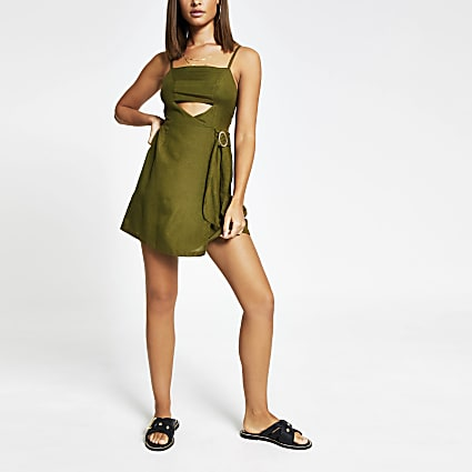 Khaki cutout beach mini dress