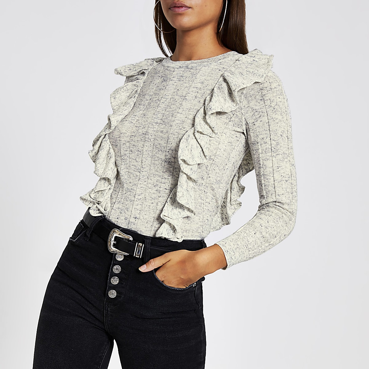 Grey frill long sleeve knitted jumper