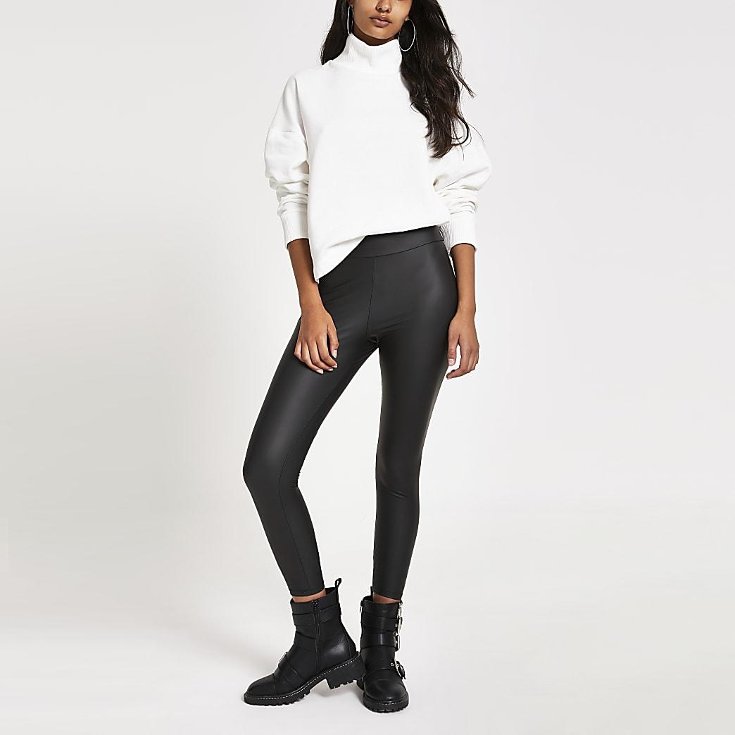Zwarte legging met coating