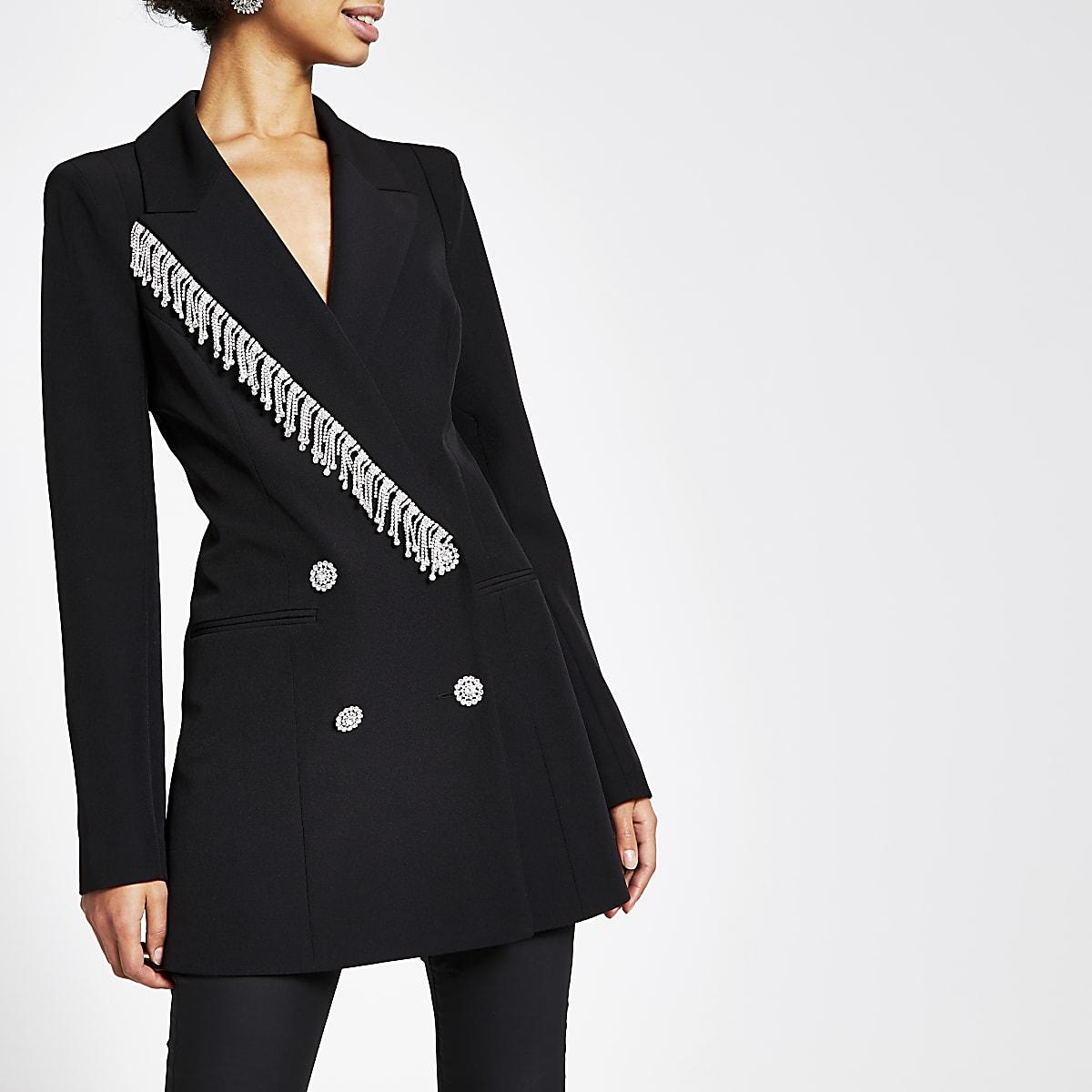 Black diamante fringe double breasted blazer