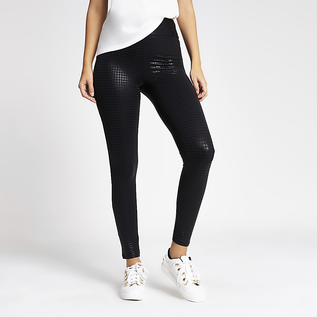 Black dogtooth check printed coated leggings