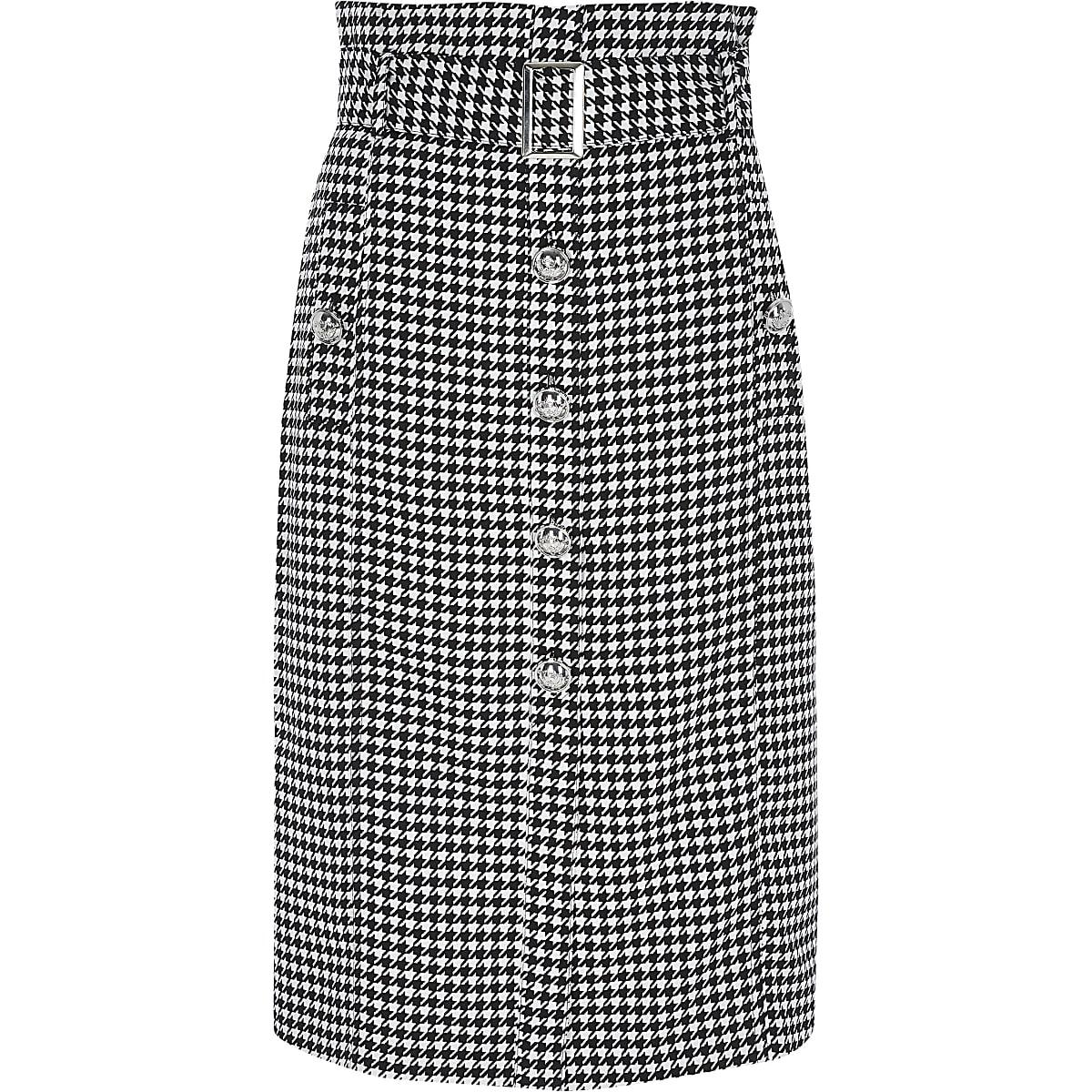 in de uitverkoop beste kwaliteit 100% topkwaliteit Black dogtooth paperbag midi pencil skirt