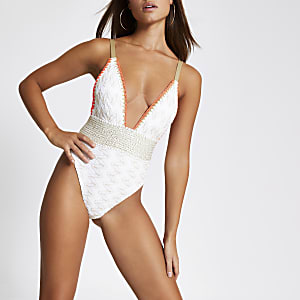 White zip-zag embroidered plunge swimsuit