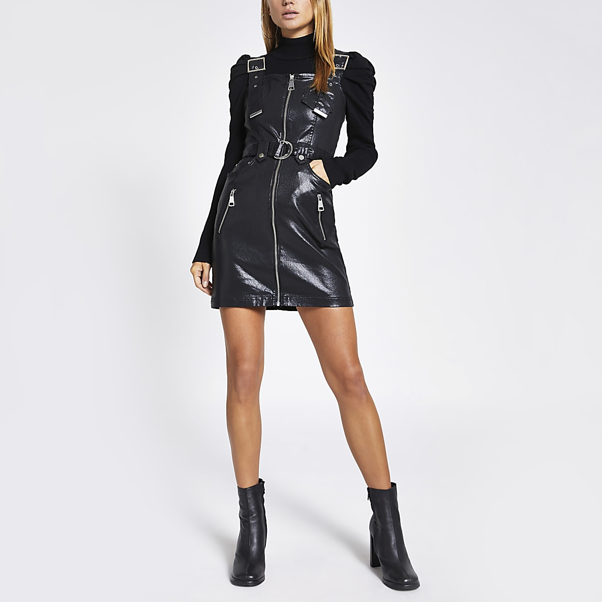 Black coated belted zip through mini dress