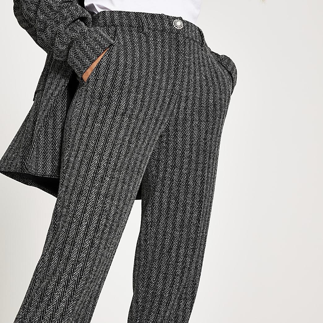 Grey herringbone cigarette trousers