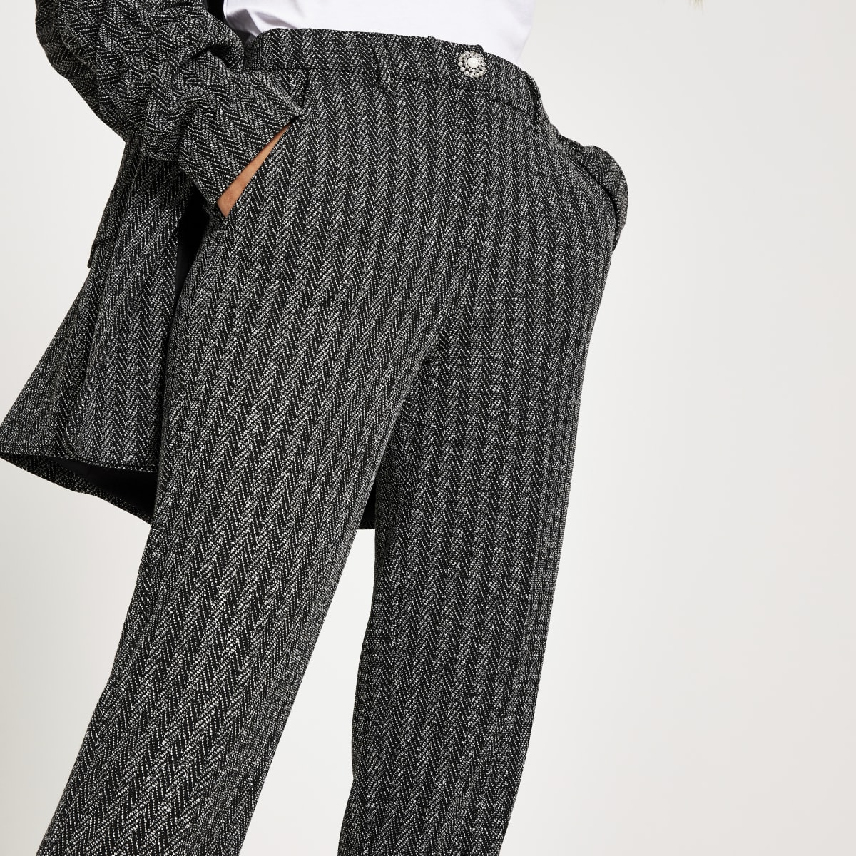 Grey herringbone cigarette trousers
