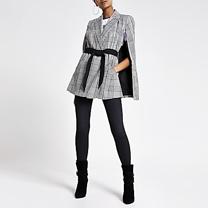 Black check belted cape jacket