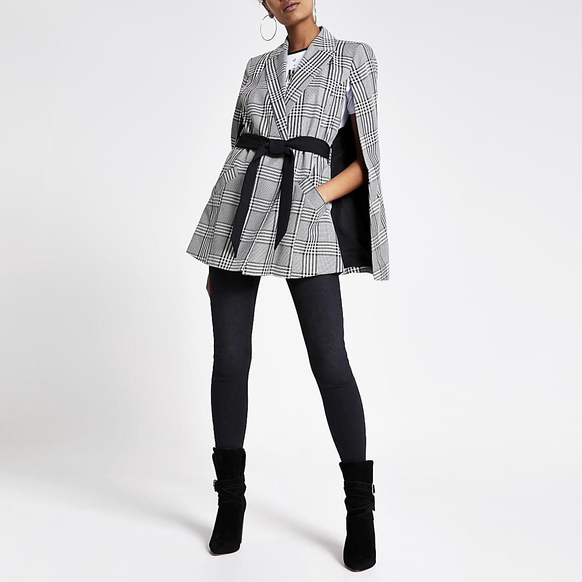Black check belted cape jacket