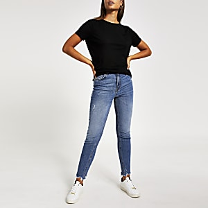 Zwart loose fit T-shirt met ruches schouder