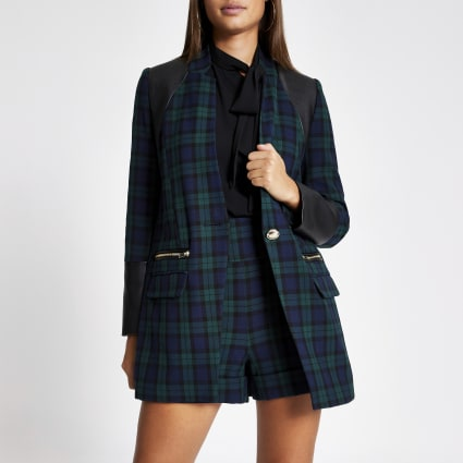 Navy tartan check faux leather blocked blazer
