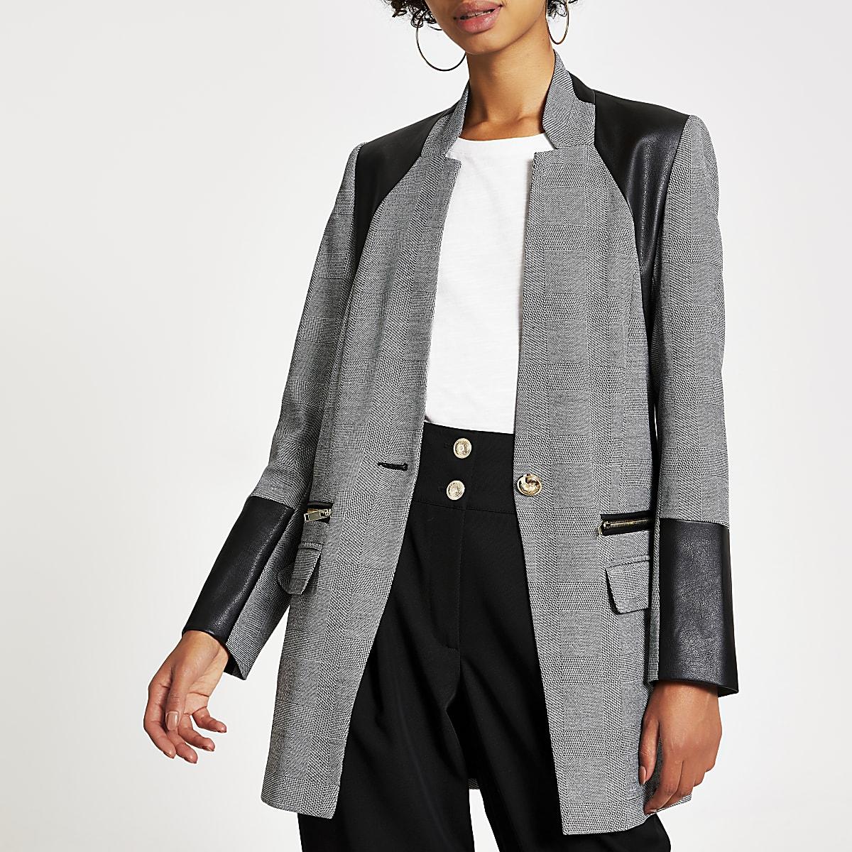 Grey herringbone faux leather blocked blazer