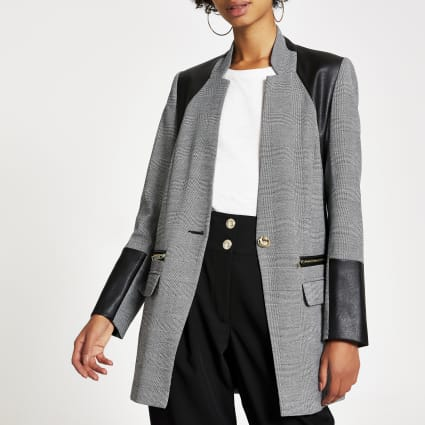 Grey herringbone faux leather blocked blazer