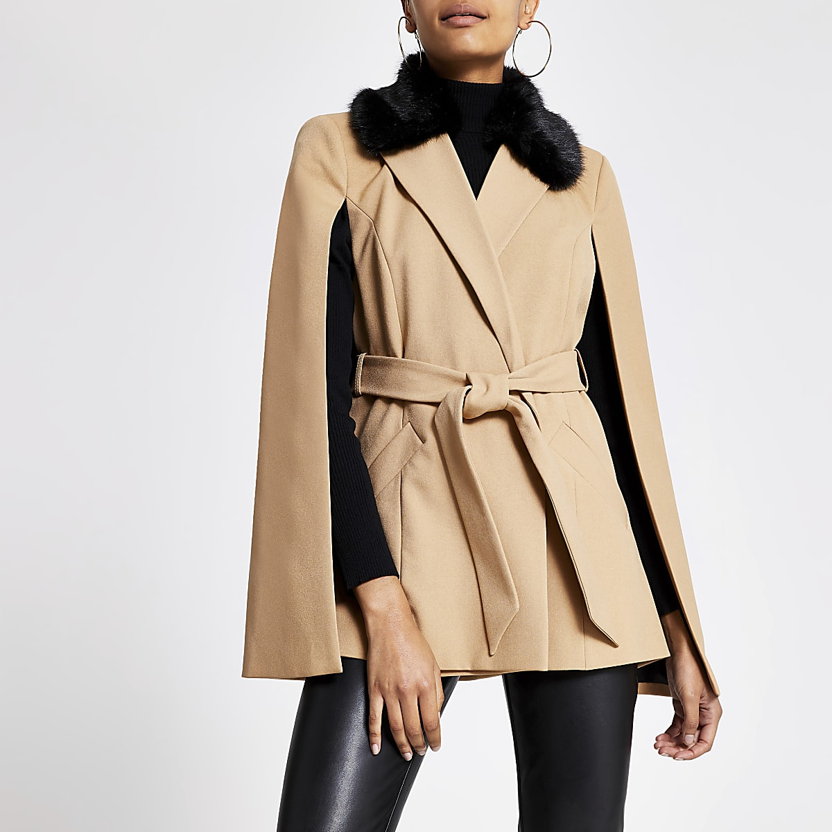 Beige faux fur collar belted cape jacket