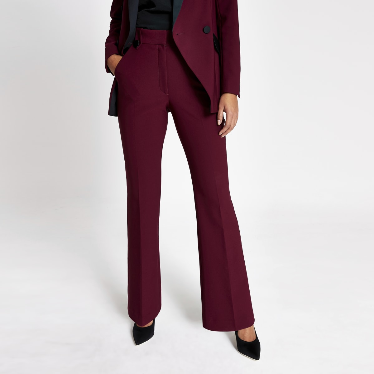 Red flare suit trousers