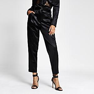 Pantalon noir taille haute avec ceinture en velours