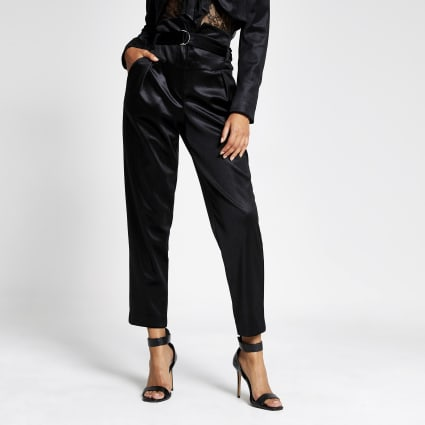 Black velvet high waisted belted trousers