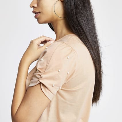 Beige embellished knot sleeve fitted T-shirt