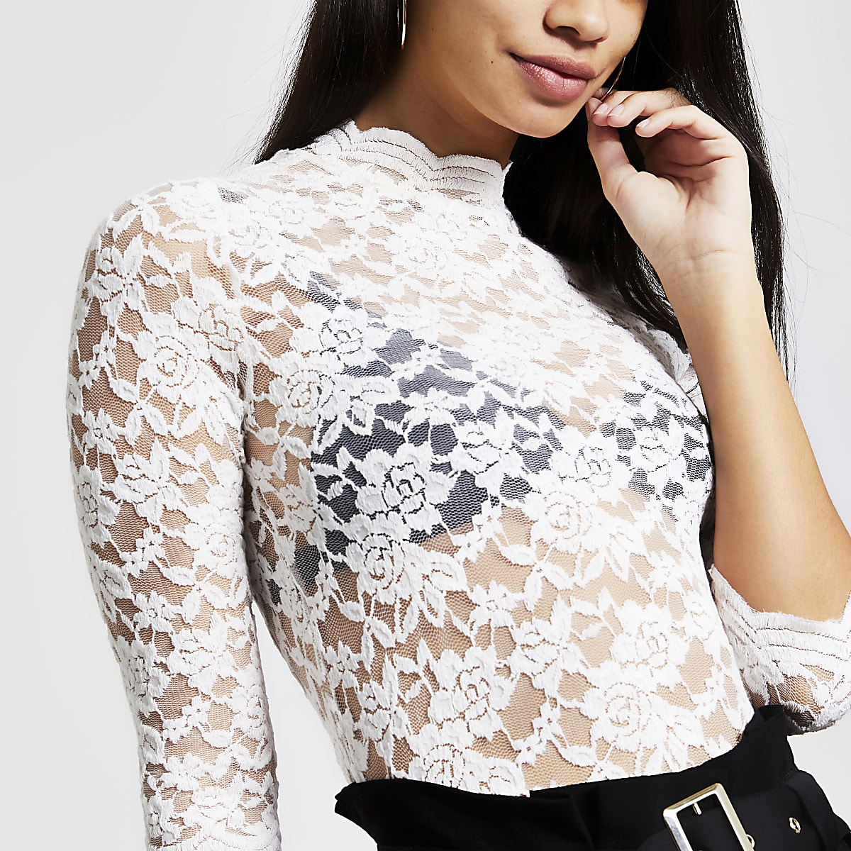 Cream sheer lace scallop top