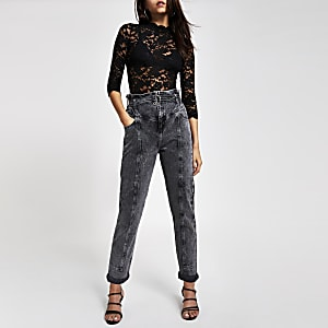 Black lace sheer scallop top