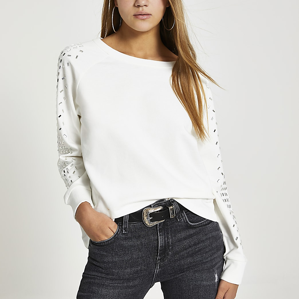 Cream embellished sleeve sweatshirt