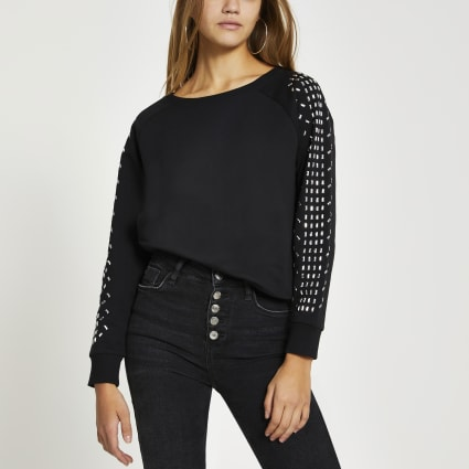 Black long embellished sleeve sweatshirt