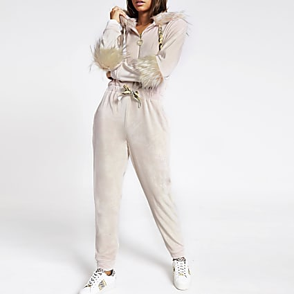Pink velour faux fur trim onesie