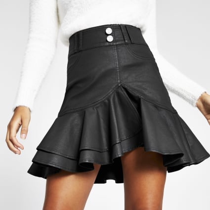 Black coated frill denim mini skirt