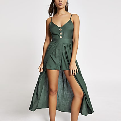 Green button front fitted beach playsuit