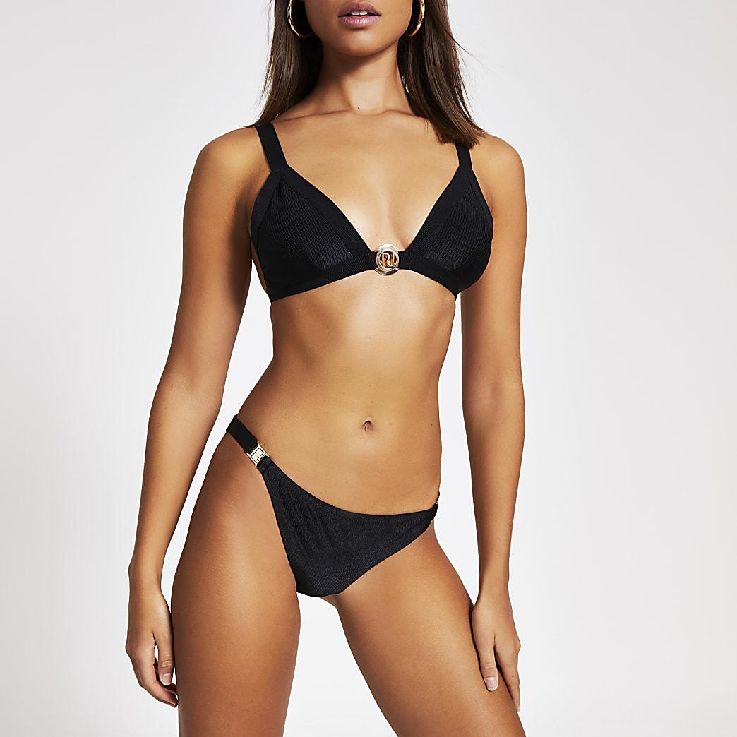 Schwarzes RI-Triangel-Bikinioberteil im Rippenstrick